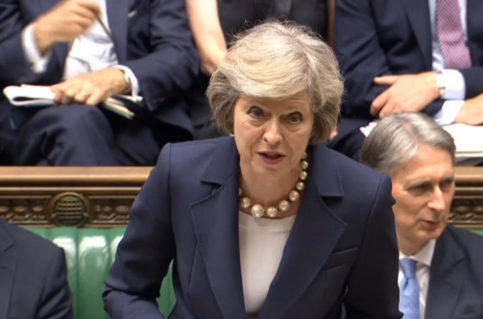 epa05433311 A week after becoming Britain's second woman prime minister, Mrs Theresa May attends her first Prime Minister's Questions in the House of Commons, Westminster, London 20th  July 20th 2016. The image is a video grab from live tv streaming. Later in the day she will fly to Berlin for her first meeting with German Chancellor Angela Merkel as premier.  EPA/PA NO COMMERCIAL SALES UK AND IRELAND OUT  EDITORIAL USE ONLY